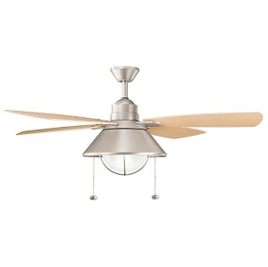 "Seaside Collection 54"" Brushed Nickel Powder Coat Ceiling Fan with Light Oak Blades 310131NI"