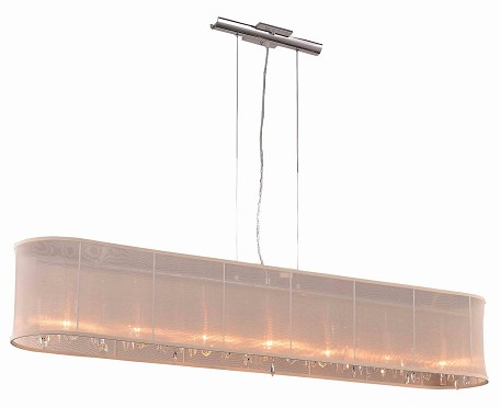 "Crystal Fusion Design 7-Light 58"" Chrome Crystal Linear Chandelier Pendant with an Organza Shade SKU# 75846"