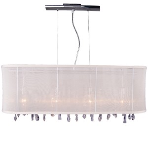 "Crystal Fusion Design 4 Light 34"" Linear Bar Pendant Chandelier with European Crystals and Organza Shade SKU# 79990"