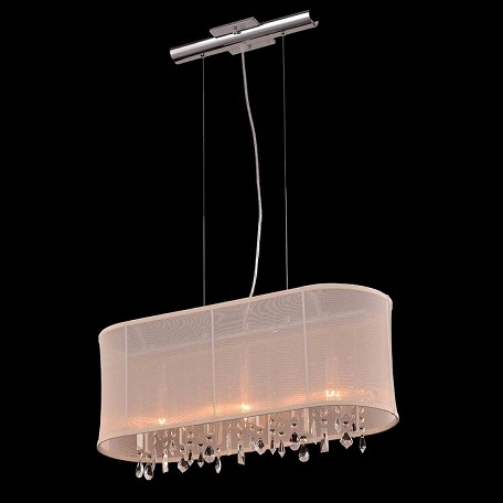 "Crystal Fusion Design 3 Light 26"" Linear Bar Pendant Chandelier with European Crystals and Organza Shade SKU# 79988"