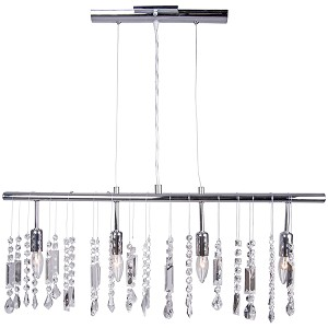 "Crystal Fusion Design 4 Light 30"" Linear Bar Pendant Chandelier with European Crystals SKU# 79989"