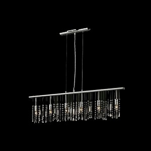 "Crystal Fusion Design 6 Light 46"" Linear Bar Pendant Chandelier with European Crystals SKU# 79994"