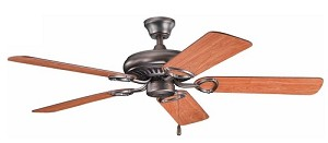 "Sutter Place Collection 52"" Oil Brushed Bronze Ceiling Fan with Reversible Walnut/Cherry Blades 339011OBB"