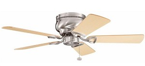 "Stratmoor Collection 42"" Brushed Stainless Steel Ceiling Fan with Reversible Light Oak/Medium Oak Blades 339017BSS"