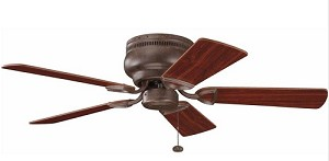 "Stratmoor Collection 42"" Tannery Bronze Ceiling Fan with Reversible Teak/Cherry Blades 339017TZ"