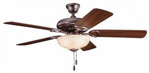 "Sutter Place Select Collection 52"" Oil Brushed Bronze Ceiling Fan with Reversible Walnut/Cherry Blades 339211OBB"