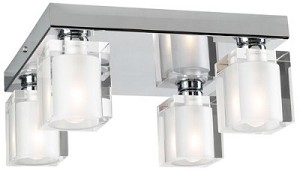 "Glacier Series 4-Light 10"" Polished Chrome Flush Mount Ceiling Fixture with Frosted Glass 3486-PC"