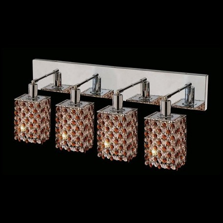 "Hollywood Design 4-Light 26"" Square Wall Sconce Rectangular Bath Bar Dressed with  30% Lead or Swarovski Spectra Crystal SKU# 11484"
