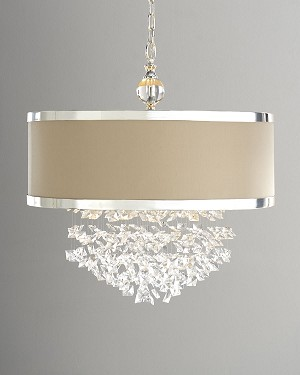 "Fascination Collection 3-Light 23"" Chrome Plated Chandelier with Crystal Accents and Off White Linen Shade 21908"