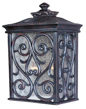 "Newbury 2-Light 15"" Oriental Bronze Outdoor Wall Lantern with Seeded Glass 40127CDOB"