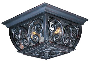 "Newbury 2-Light 10"" Oriental Bronze Outdoor Ceiling Mount Fixture with Seeded Glass 40129CDOB"
