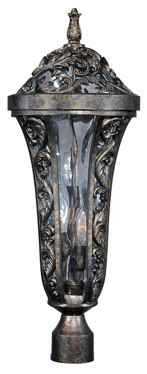 "Montecito 3-Light 20"" Tortoise Outdoor Post/Pole Lantern with Water Glass 40140WGTR"