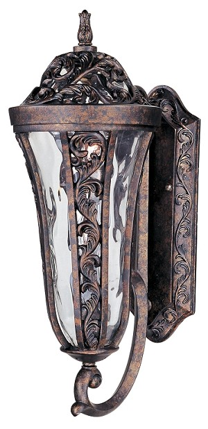 "Montecito 2-Light 21"" Tortoise Outdoor Wall Lantern with Water Glass 40143WGTR"