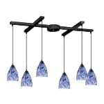"Classico Collection 6-Light 33"" Dark Rust Linear Pendant with Starlight Blue Glass 406-6BL"