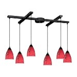 "Classico Collection 6-Light 33"" Dark Rust Linear Pendant with Fire Red Glass 406-6FR"