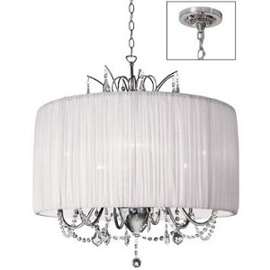 "Shaded Light Design 6-Light 25"" Crystal Mini Chandelier with Gathered Pleated Organza Shade SKU# 372984"