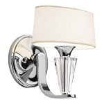 "Crystal Persuasion Collection 1-Light 9"" Chrome Wall Sconce with White Fabric Shade 42028-CH"
