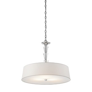 "Crystal Persuasion Collection 3-Light 24"" Chrome Pendant with White Fabric Shade 42034-CH"