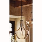 "Everly Collection 1-Light 20"" Olde Bronze Pendant with Clear Glass 42046OZ"