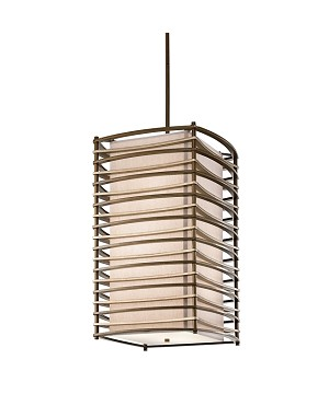 "Moxie Collection 6-Light 31"" Cambridge Bronze Pendant with Linen Shade 42074CMZ"