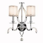 Jardine Collection 2-Light 21 Chrome Wall Sconce with Metallic-Frosted Outer Shade and Cased Opal Glass Inner Shades 42307-CH