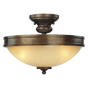 "Atterbury Collection 3-Light 15"" Deep Flax Bronze Semi-Flush with Venata De oro glass 4232-288"