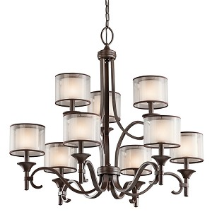 "Lacey Collection 9-Light 34"" Mission Bronze Chandelier with Satin-Etched Inner Diffusers and Light Umber Translucent Organza Outer Shades 42382MIZ"