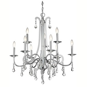 "Leanora Collection 9-Light 35"" Chrome Chandelier with Clear Crystals 42546-CH"