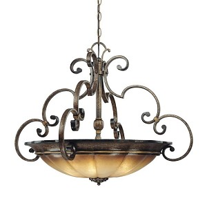 "Brompton Collection 4-Light 33"" Brompton Bronze Pendant with Dover Mist Glass 4334-561"