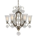 "Terzetto Collection 7-Light 34"" Terzetto Bronze Chandelier with Etched Opal Glass and Luster Optic Glass 4507-292"