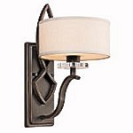 "Leighton Collection 1-Light 15"" Old Bronze Wall Sconce with a White Fabric Shade"
