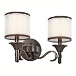 "Lacey Collection 2-Light 12"" Mission Bronze Wall Sconce with Satin-Etched Inner Diffusers and White Translucent Organza Outer Shades 45282MIZ"