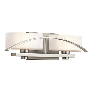 "Suspension Collection 2-Light 20"" Brushed Nickel Bath Vanity Fixture with Opal Glass 45316NI"