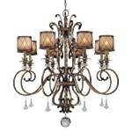 "Aston Court Collection 8-Light 42"" Aston Court Bronze Chandelier with Avorio Mezzo Glass 4756-206"