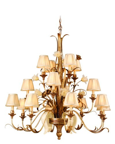 "Tivoli Collection 16-Light 44"" Tivoli Silver Chandelier with Pinch Pleat Shades, Oro Bianco Venetian Glass and 24K Gold Accents 49-016"