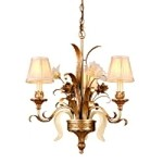 "Tivoli Collection 3-Light 24"" Tivoli Silver Mini Chandelier with Pinch Pleat Shades, Oro Bianco Venetian Glass and 24K Gold Accents 49-03"