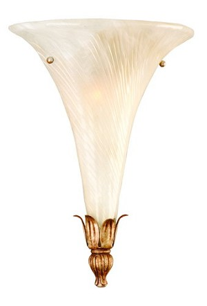 "Tivoli Collection 1-Light 21"" Tivoli Silver Pocket Wall Sconce with Oro Bianco Venetian Glass and 24K Gold Accents 49-11"