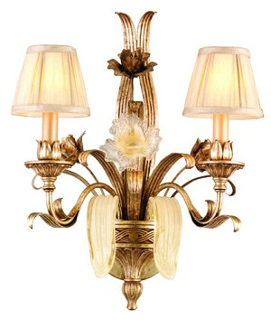 "Tivoli Collection 2-Light 21"" Tivoli Silver Wall Sconce with Pinch Pleat Shades, Oro Bianco Venetian Glass and 24K Gold Accents 49-12"