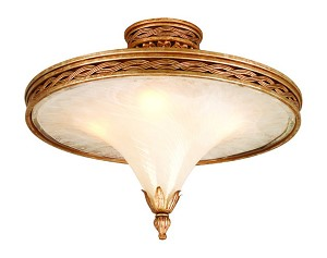 "Tivoli Collection 4-Light 24"" Tivoli Silver Semi-Flush Mount with Oro Bianco Venetian Glass and 24K Gold Accents 49-32"