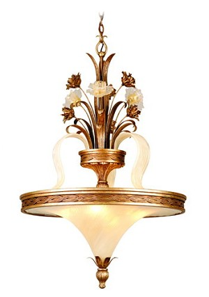 "Tivoli Collection 4-Light 38"" Tivoli Silver Inverted Pendant with Oro Bianco Venetian Glass and 24K Gold Accents 49-72"