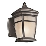 "McAdams Collection 1-Light 9"" Rubbed Bronze Outdoor Wall Light with Light Umber Etched Seedy Glass Shade 49270RZ"