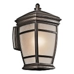 "McAdams Collection 1-Light 14"" Rubbed Bronze Outdoor Wall Light with Light Umber Etched Seedy Glass Shade 49271RZ"