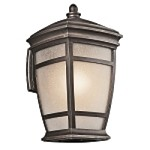 "McAdams Collection 1-Light 17"" Rubbed Bronze Outdoor Wall Light with Light Umber Etched Seedy Glass Shade 49272RZ"