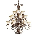 "Larissa Collection 15-Light 58"" Tannery Bronze Chandelier with Citrine Glass 2218TZG"