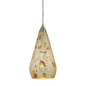 "Curvalo Collection 1-Light 13"" Silver Multi-Color Crackle Glass Mini Pendant 546-1SLVM-CRC"