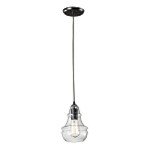 "Menlow Park Collection 1-Light 9"" Oiled Bronze Mini Pendant with Clear Blown Glass 60047-1"