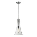 "Menlow Park Collection 1-Light 16"" Polished Chrome Mini Pendant with Clear Blown Glass 60055-1"