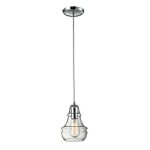 "Menlow Park Collection 1-Light 9"" Polished Chrome Mini Pendant with Clear Blown Glass 60057-1"