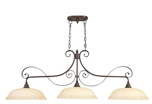 "Manchester 3-Light 55"" Imperial Bronze Island Fixture with Vintage Scavo Glass 6154-58"