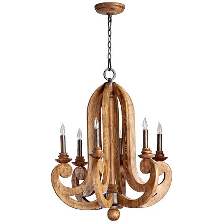 "Ashford Collection 6-Light 32"" Provincial Wood Grain Chandelier 6163-6-23"